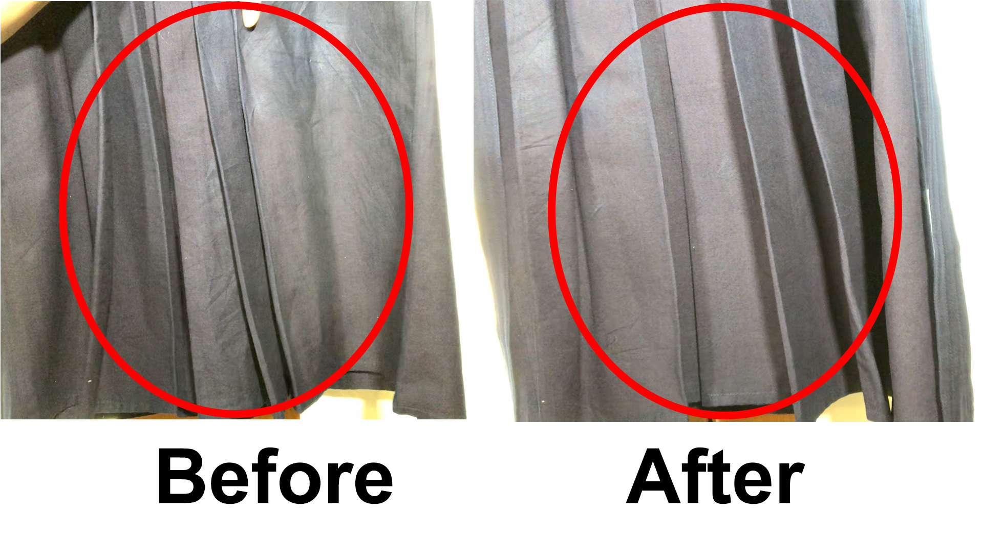 Remove wrinkles on hakama with iSteam Review: hakama before and after iSteam