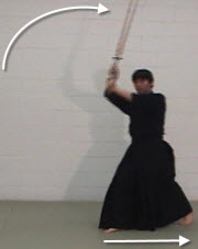 kendo basics haya suburi, stepping backwards