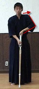 Bad example of Joge-buri with shinai