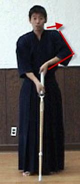 Bad example of Joge-buri with shinai