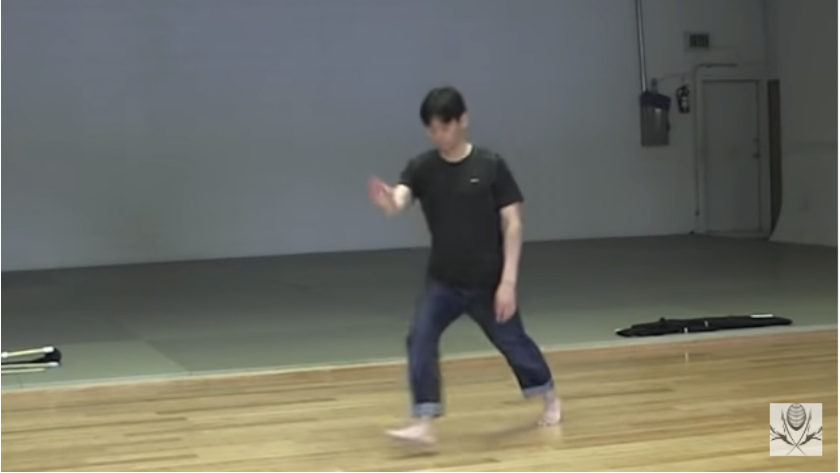 Figure 3 fumikomi practice: Letting Go Your Right Foot From Chudan